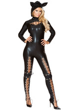 New 2017 New Arrivals Halloween Costumes Cosplay Bodysuit For Women Long Sleeve PU Leather Sexy Frisky Cat Costume LC89059(China)
