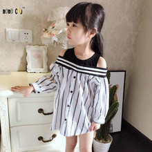Fashion Strapless Kids Girls Shirts Spring Autumn Children's Blouses For Girls Casual All-Match Girl Blouse Tops Child Costumes