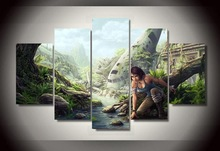 Canvas painting new 5 piece HD tomb raider lara croft Group Painting decoration for home print poster canvas Free shipping\R3