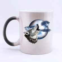 Roaring Wolf and Moon Custom Coffee Mug Mugs Color Change Ceramic Cup Water Office Beer Cups 11 OZ Two Sides Printed(China)
