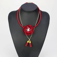 New Handmade Fabric Red Flower Tassel Choker Necklace Fashion Indian Jewelry New 2016 Pendant Girl Woman Accessories Xmas Gift
