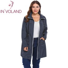 IN'VOLAND Plus Size Women Jacket Coat Hoodie Winter Autumn Drawstring Zipper Loose Windbreaker Large Rain Overcoat Big Size