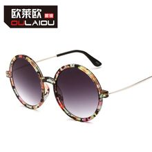 Brand OULAIOU Retro Glasses Fashion Men Women General Sunglass Round Steel Legs Sunglasses Men and Women UV400 Sun Glasses 2008