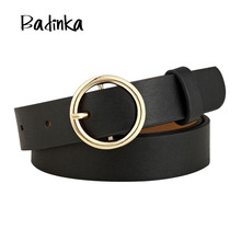 Badinka New Gold Round Metal Circle Belt Female Gold Silver Black White PU Leather Waist Belts for Women Jeans Pants Wholesale(China)