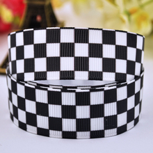 "7/8"" 22mm Black Lattices Printed grosgrain ribbon party decoration satin ribbons DIY Hairbow sewing supplies OEM 10Yards X-00151"