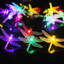 600CM 20LED Solar Powered dragonfly LED Light String Christmas Tree Path Porch Lawn Outdoor Garden  House Decoration