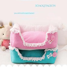 Elegant Pink/Blue Dot Pet Puppy Princess Dog Bed Kennel House Lace Washable Cozy Small Medium Dog Cat Teddy Sofa Nest S,M,L(China)