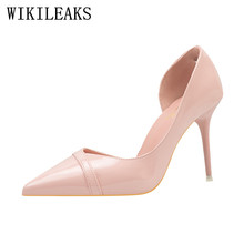 italian Patent Leather fetish high heels shoes woman OL sexy pumps women shoes zapatos mujer tacon designer bridal wedding shoes(China)