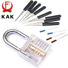 KAK Mini Transparent Visible Pick Cutaway Practice Padlock Lock With Broken Key Removing Hooks Lock Extractor Set Locksmith Tool