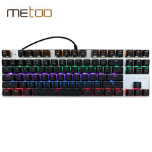 Metoo Zero Gaming Wired Mechanical Keyboard 104/87 Keys Backlight Blue Switch Backlit LED wired Keyboard gamer Russian Stickers(China)