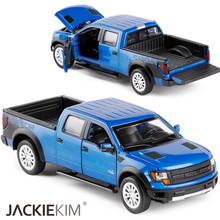 High Simulation Classic Car New 1:34 Ford F150 Raptor Pickup truck alloy car toy Flashing Pull Back Baby Toy Trailer Collection