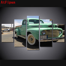 AtFipan No Frame Pickup Trucks Modular Wall Paintings 5Pcs Car Cuadros Decor Modern Painting On Canvas Pictures For Living Room