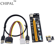 CHIPAL 250pcs/lot High Performance 60CM PCI-E 1X to 16X Riser Card Extender Converter+USB 3.0 Cable /SATA to 4Pin IDE Power Wire(China)