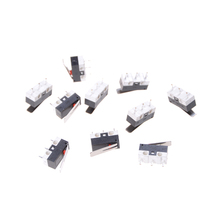 10pcs/lot mini Tripod Rectangular Tact Micro Mouse Switch Micro Switch AC 125V 1A SPDT Momentary Long Hinge Lever Micro Switch