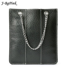 Brand New Genuine Leather Casual Bag Women's Mini Tote Bag Ladie's Handbag Black Color Metal Chain Handle Bag For Mobile Phone