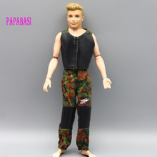 1set Handmade casual clothes suit outfits for Barbie Ken Dolls, waistcoat and trousers disruptive pattern