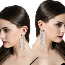 2017 Gold Color Asymmetric Dangle Earrings for Woman White Round Geometric Long tassel chandelier Earrings fashion jewelry