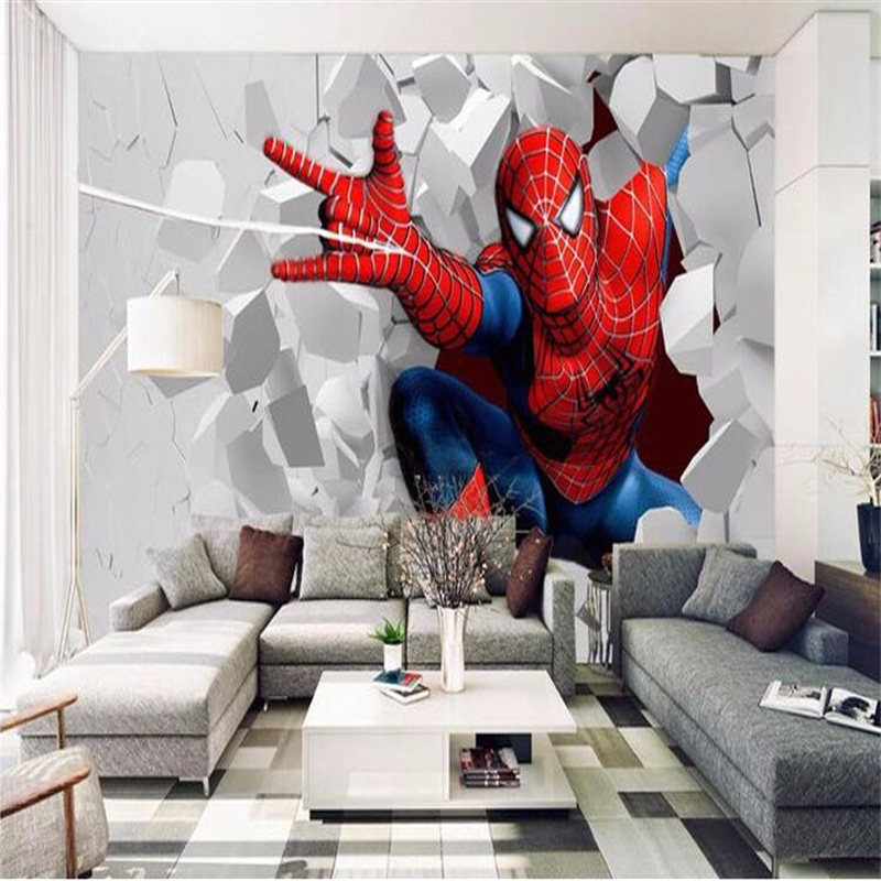 Photo Wallpaper drawing cartoon children 3d living room bedroom background dynamic spider hero mural wallpaper papel de parede<br><br>Aliexpress