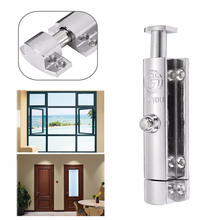 4'' Chrome Plated Door Window Security Bolt Button Open Spring Lock Latch Cabinets Bolt Lock for Home Hardware Tools(China)