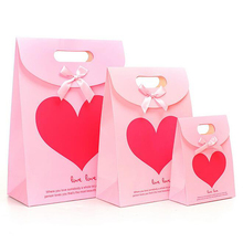 (10 pieces/lot)Free Shipping Korean Style Hear Gift Bags Creative Fashion Clamshell Gluing Paper Bag Custom Kraft Paper Gift Bag
