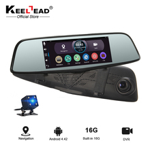 "KEELEAD Car DVR camera 7"" Android rearview mirror GPS navigator RAM 1GB ROM 16GB WiFi Dual lens FHD 1080P Video Record Dash cam(China)"