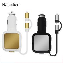 Retractable 2 In 1 Mini Dual USB Phone Charger Adapter Quick Charging 5v For Iphone 4 4s 5 5s Se 6s 7 7plus Xiaomi Redmi Huawei(China)