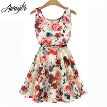 Women Summer Dress 2018 AWAYTR Brand Boho New Apricot Sleeveless O-Neck Florals Print Pleated Party Clubwear Formal Dress(China)
