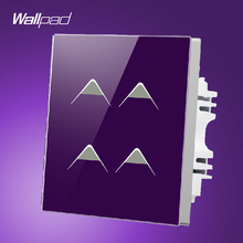Smart House Wallpad UK Hotel 4 Gang 2 Way 3 way Purple Crystal Glass Energy Saving Touch Control Switch Electric, Free Shipping