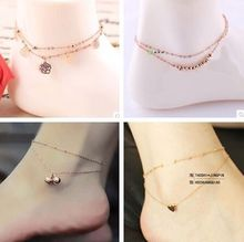 2017 new rose gold Anklet female Korean fashion double foot ring bell Anklet fringed titanium steel jewelry gift M1779