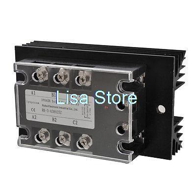 AC-AC 25A AC 90-280V/ AC 380V 3 Phase SSR Solid State Relay w Heat Sink<br>