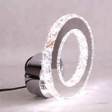 Crystal Ring Modern Fashion Contemporary LED Wall Sconces Light Stainless Steel Wall Lamp(China)