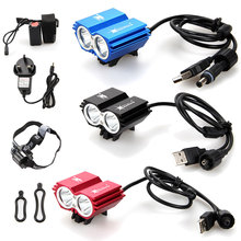 Solar Storm 15000Lm 2x XM-L2 LED Front Bicycle Bike Light Rechargeable Headlight With 6400mAh Battery Pack+Headband+Charger