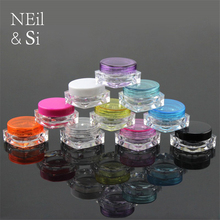 10g Plastic Cosmetic Jar Lip oil Cream Sample Bottle Empty Nail Polish Packaging Square Bottom Container Free Shipping
