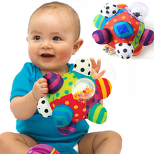 Baby Fun Pumpy Ball Cute Plush Soft Cloth Hand Rattles Bell Training Grasping Ability Toy Baby Boys Girls Ring Toys Kids Gift
