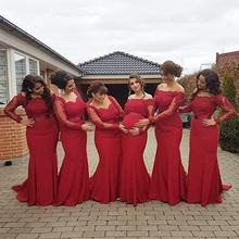 2017 New Arabic African Red Bridesmaid Dresses Plus Size Maternity Off Shoulder Long Sleeve Lace Wedding Party Gown