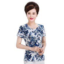 New Large Size Summer Short Sleeve Women Floral Tshirts Blue Red Elegant Ladies Cool Top Clothing for Mothers B9O S M L XL