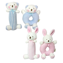 2Pcs/set 100% Cotton Pink Blue Rabbit Bear Plush Toy Infant Baby Crib Stroller Infant Newborn Bed Baby Circle Rattles Soft Play(China)