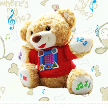 Soft English Speaking Education Teddy Bear Musical Plush Dolls Mobile Musical Baby Toys Kawaii Antistress Electric Kid Toy BF036(China)