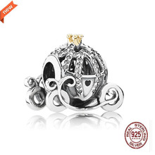 2017 Authentic 100%925 silver CHARM Pumpkin Coach Beads Fit Pandora DIY Charm bracelet  jewelry For women Gift beads wholesale