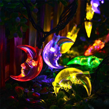 Ramadan decorations eco friendly solar power 4.8m 20 leds crescent string lights for garden park courtyard lighting(China)