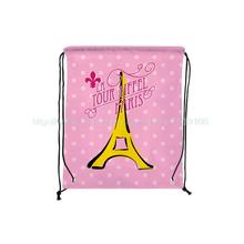 4Pcs Tour Eiffel Tower Print Custom Pink Outdoor Beach Gym Swimming Clothing Shoes Towel Storage Bag Drawstring Backpack