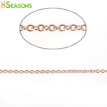 8SEASONS Copper Link Cable Chain Findings Oval rose gold color 1.5mm x 1.3mm, 5 M 2016 new(China)