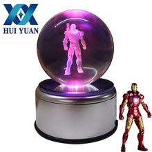 3D Iron Man Crystal Ball Fancy LED Lighting and Spinning Primary Base Advance 3D Laser Engraving Valentine Children's Gift