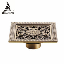 Shower Drains 12*12cm Square Bath Drains Strainer Hair Antique Brass Art Carved Bathroom Floor Drain Waste Grate Drain HJ-8701T(China)