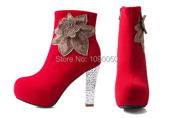 small yards:32 33 34 35-42 43 Autumn/Winter 10cm high heels platform flowers wedding shoes woman sexy pumps Martin single boots<br><br>Aliexpress