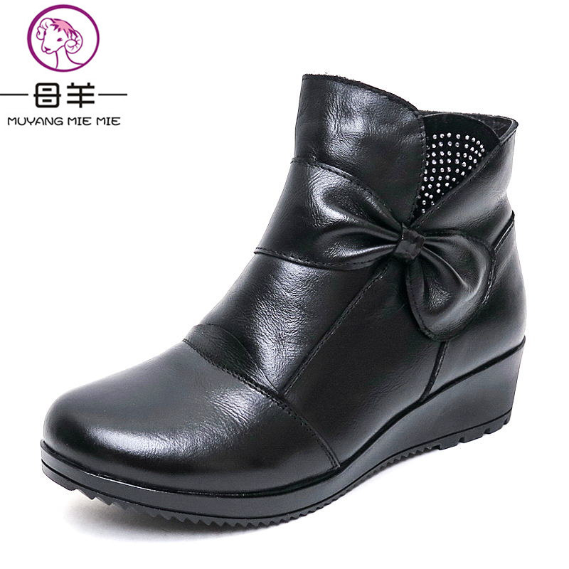 MUYANG MIE MIE Women Boots Fashion Shoes Woman Genuine Leather Wedges Snow Boots Winter Casual Bow Ankle Boots Women Shoes<br>