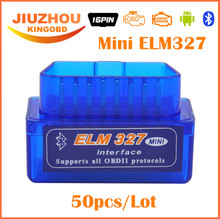 50pcs DHL Free Super Mini V2.1 ELM327 ELM 327 OBD2 Bluetooth Interface Car Scanner OBD2 obdii obd ii Diagnostic Tool-best price