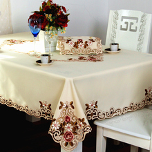 Fashion embroidery 220 rustic dining table cloth table runner towel sets square rectangle round tabecover