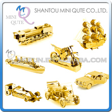 Mini Qute Piece Fun 3D Golden vehicle Ford train Titanic ship Black Pearl Metal Puzzle adult assemble DIY models educational toy