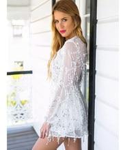 Sexy Holiday Style Chiffon Dress Women Gold Black White Sequined Vestidos  Deep V Neck Mini Dress 49d24de64812